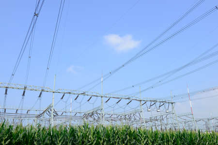 agricultural engineering: High voltage towers in the fields