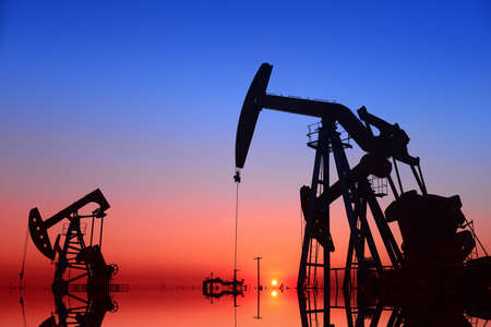 oil field: Working pumping unit in oil field