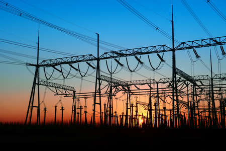 color distribution: The power supply facilities of contour in the evening