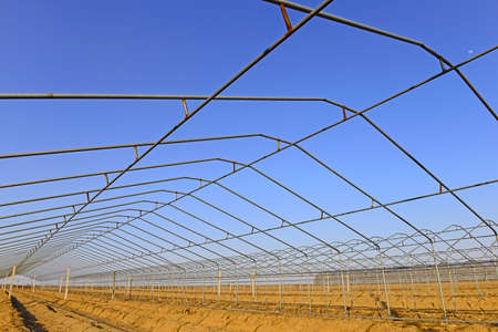 Steel frame structure of greenhouse  Stock Photo