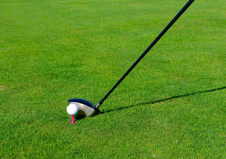 Playing golf, on the grass  Stock Photo