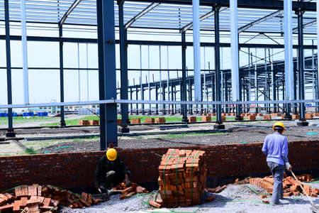 The steel frame structure is under construction