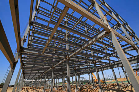 The steel frame structure under construction