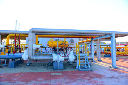 Oil pipe, oil field equipment at work 写真素材