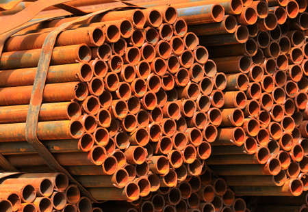 a pile of iron pipes
