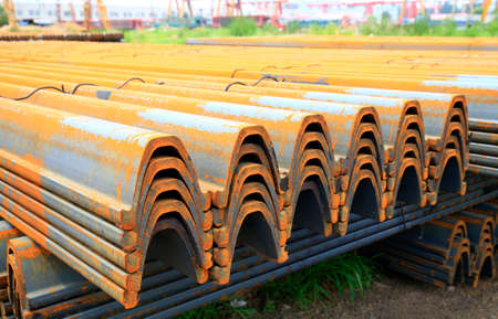 Stack of rusty steels material for construction Stock Photo