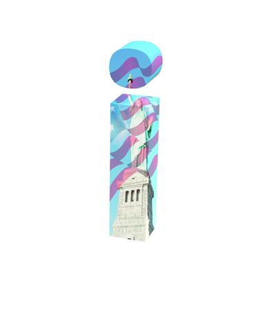3D rendering Font New York City lowercase i