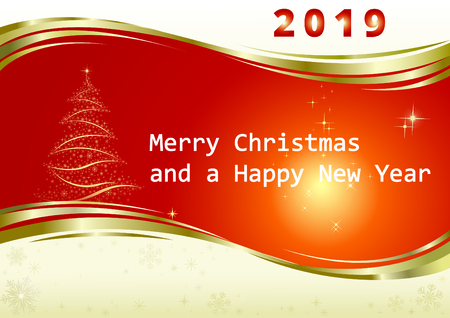 Marry christmas and happy new year 2019 card red