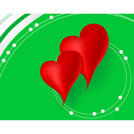 Red hearts in green background Illustration