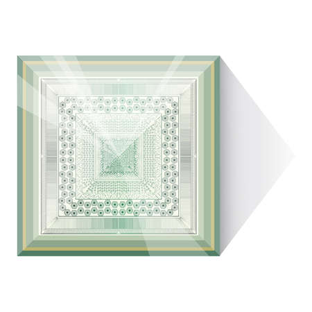 Abstraction with glass pyramid.  Illustration 10 vertion