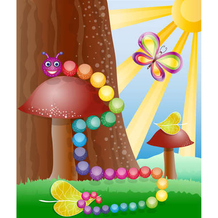 Cartoon picture with nature, butterly and caterpillar Stock Vector - 17564541