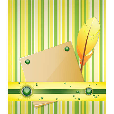 Yellow - green background with feather and paper.  Illustration 10 version Stock Vector - 17564537