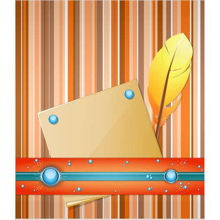 metallic  sun: Orange - blue background with feather and paper.  Illustration 10 version Illustration