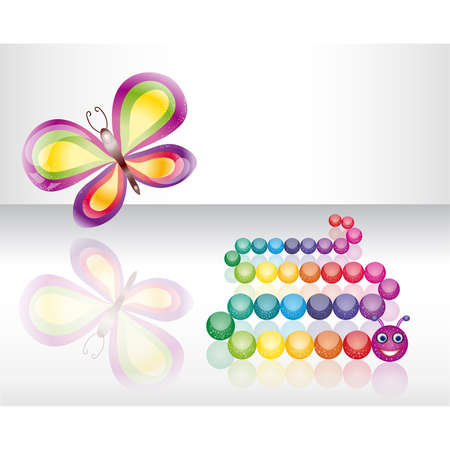 Isolated butterfly and caterpillar Stock Vector - 17691157