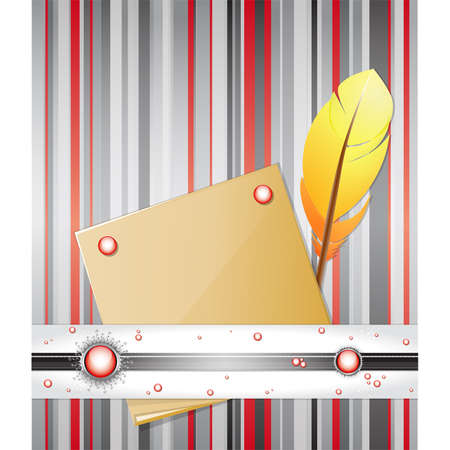 metallic  sun: Red - gray background with feather and paper.  Illustration 10 version Illustration