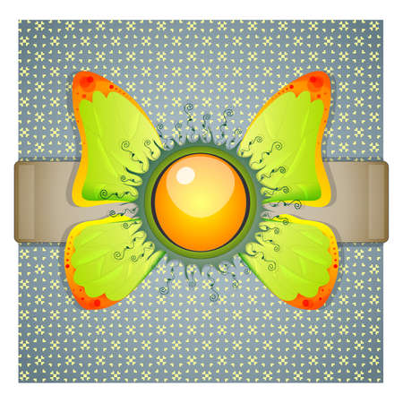 broach: Blue background with wings. Illustration 10 version