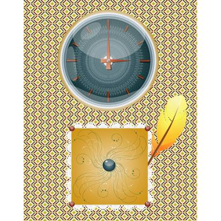 broach: Retro background with clocks and feather. Illustration 10 version Illustration