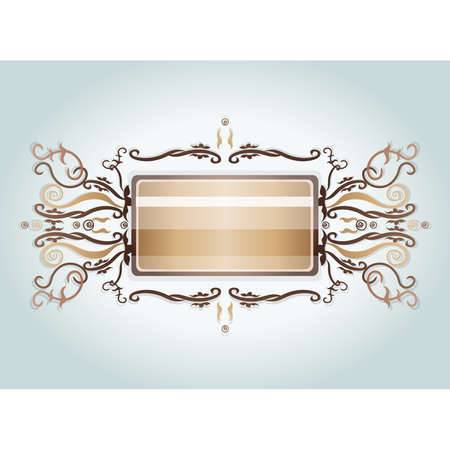 brooch: Brown and beige brooch. Illustration 10 version