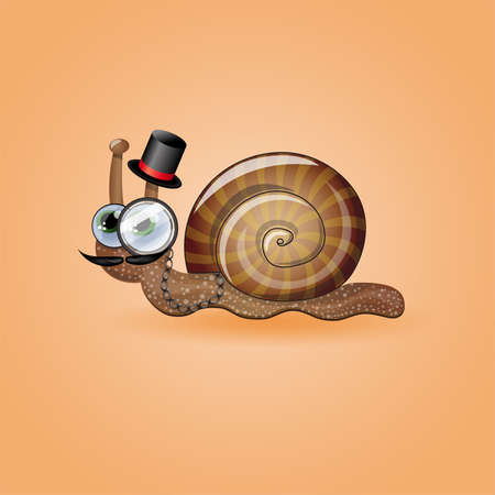 stovepipe: Isolated funny male snail. Illustration 10 version