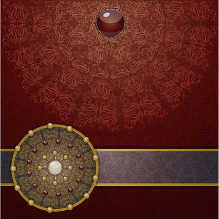 broach: Retro background with ornament, Illustration 10 version Illustration
