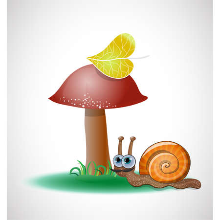 Funny snail near mushroom. Illustration 10 version