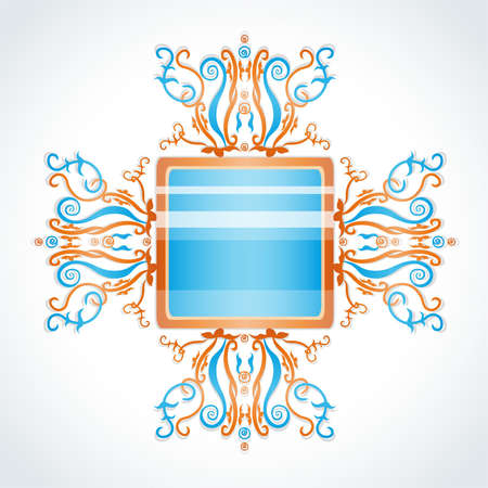 brooch: Blue and orange brooch. Illustration 10 version