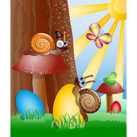 Easter picture with snails. Illustration 10 version Vector