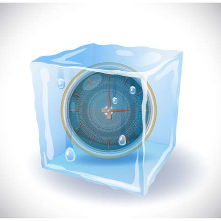 Ice cube with clock Stock Vector - 18957761