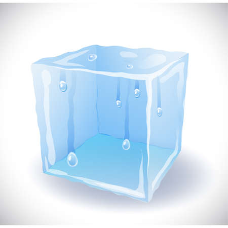 ice surface: Ice cube with drops Illustration