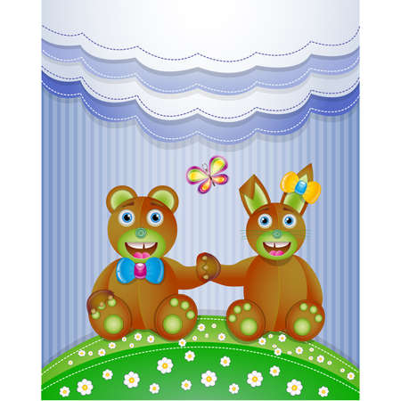 Colorful scrapbook with bunny and bear.  Stock Vector - 18957757