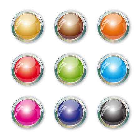Set with colorful buttons. Illustration 10 version. Vector