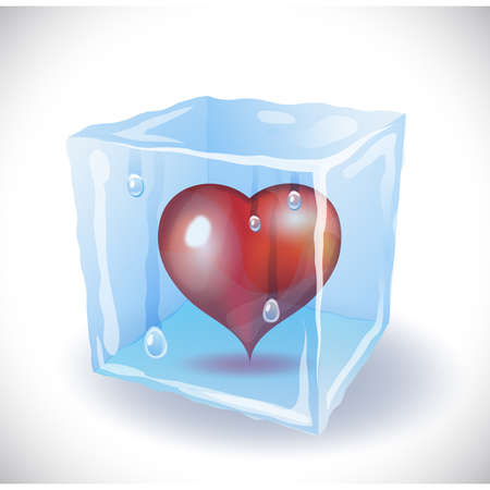 Ice cube with heart Vector