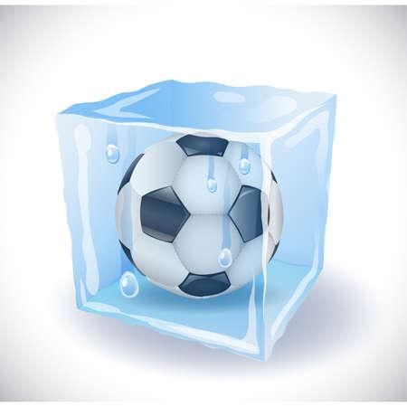 Cubo de hielo con el balón de fútbol Ilustración de vector