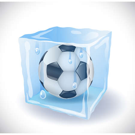 Ice cube with soccer ball Vector