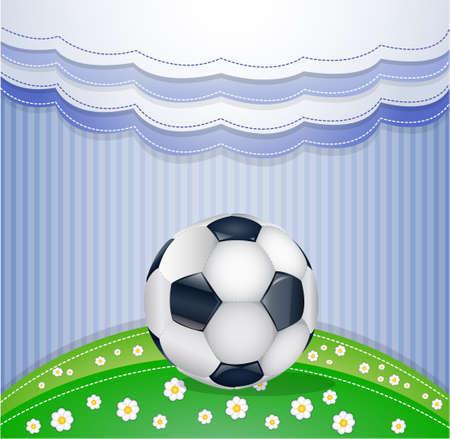 soccer coach: Football field with ball.