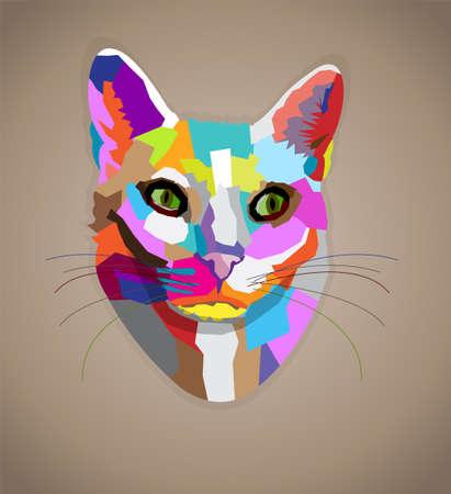 Pop art colorful cat.  Vector