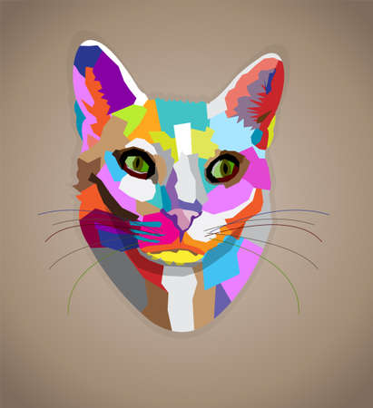 Pop art colorful cat.