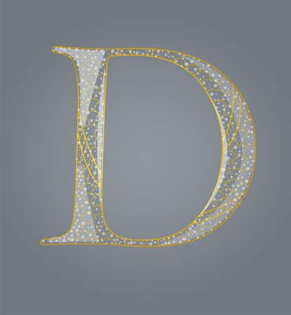Abstract golden letter D  Illustration 10 version