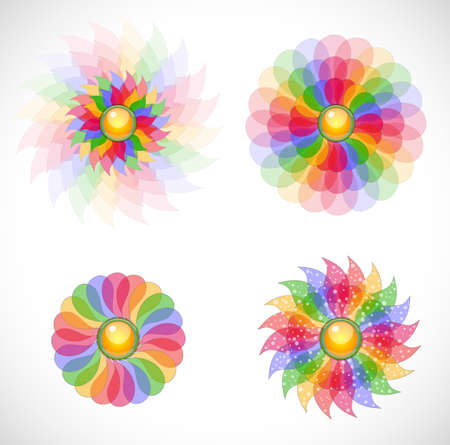 Set with abstract flowers. Illustration 10 version. Vector