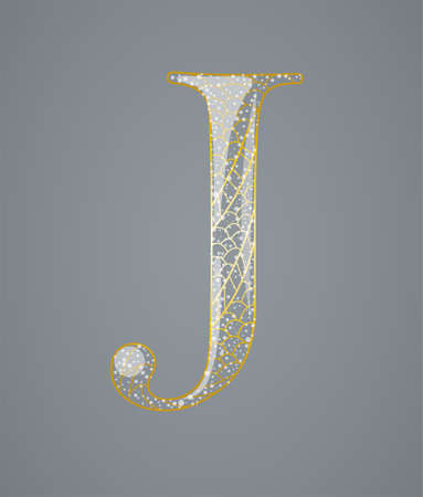 Abstract golden letter J. Illustration 10 version