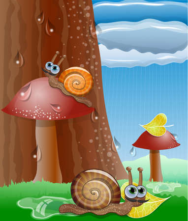 Cute picture with snails. Illustration 10 version Vector