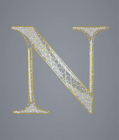 Abstract golden letter N. Illustration 10 version Vector