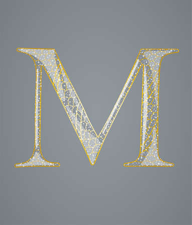 Abstract golden letter M. Illustration 10 version Vector