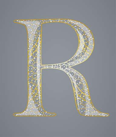 Abstract golden letter R. Illustration 10 version Illustration
