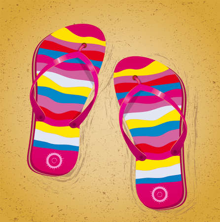 beach slippers: Beach slippers on sand. Illustration 10 version Illustration