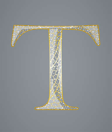 Abstract golden letter T. Illustration 10 version