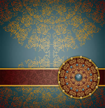 gaudy: Retro background with ornament, Illustration 10 version Illustration