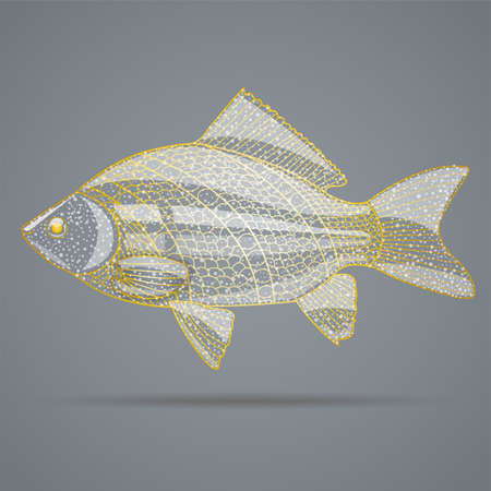 golden fish: Abstract golden fish. Illustration 10 version.
