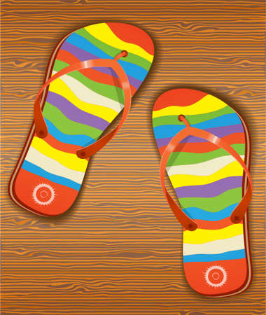 sandal tree: Wood texture with slippers. Illustration 10 version