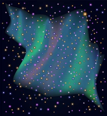 northern lights: Starry sky with northern Lights. Illustration 10 version
